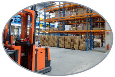 Warehouse racking with a forklift in the front